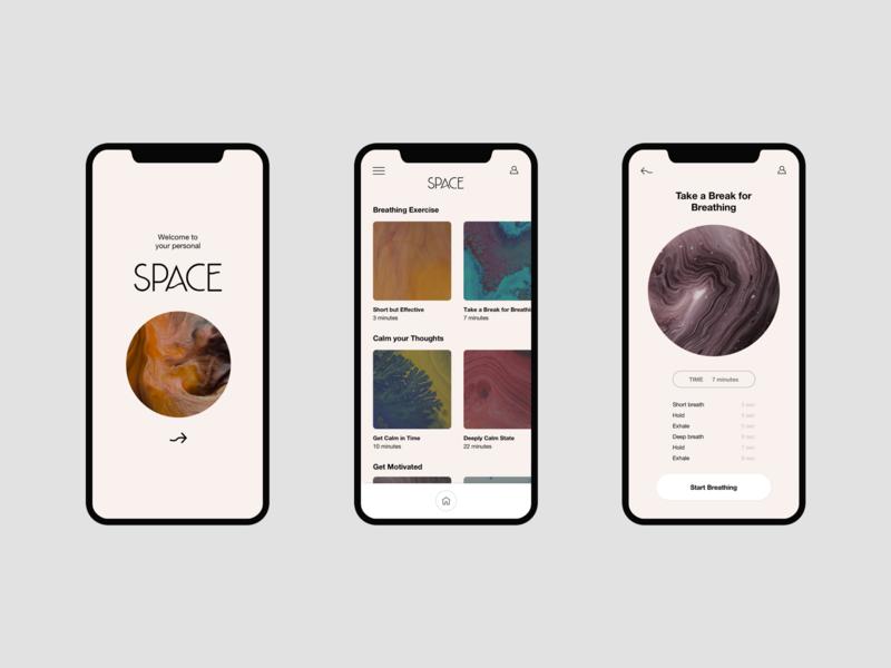 SPACE Mobile App mental health mindfulness meditation mobile app mobile design mobile minimalist modern layout typography minimal breathing meditation app meditate
