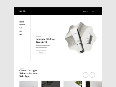Nuori Skincare Personal Design Exploration nuori website design modern fashion photography whitespace layout typography minimal ecommerce design ecommerce cosmetics skin skin care skincare