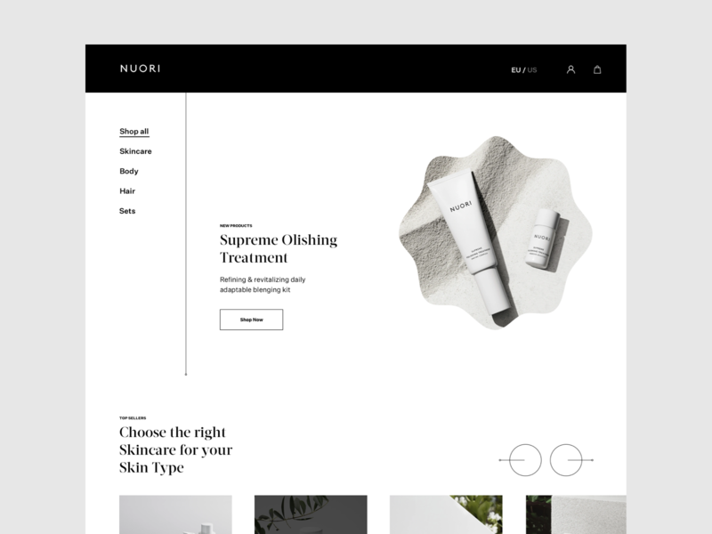 Nuori Skincare nuori website design modern fashion photography whitespace layout typography minimal ecommerce design ecommerce cosmetics skin skin care skincare