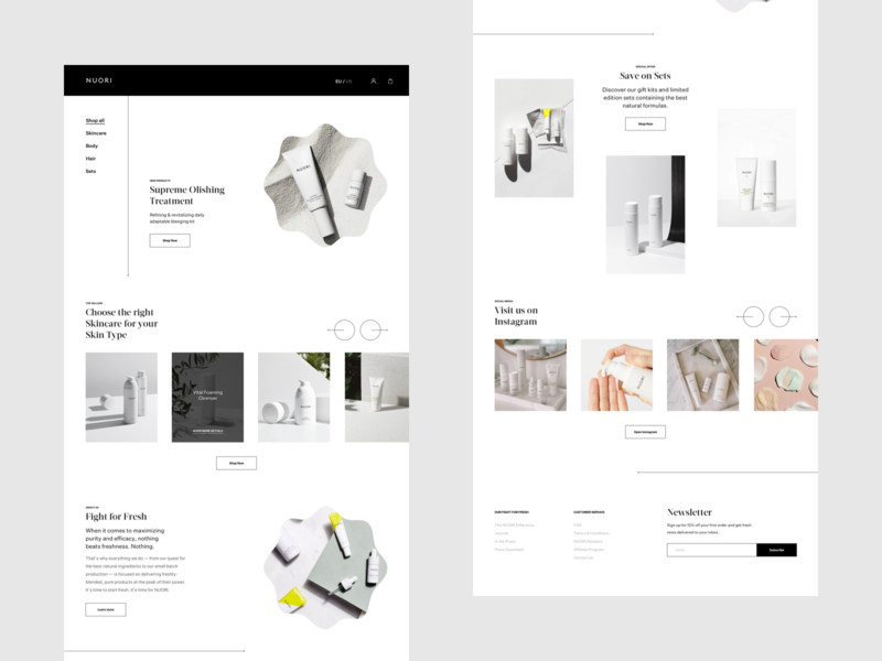 Nuori Skincare Website Personal Design Exploration skin cosmetics skin care skincare ecommerce design ecommerce minimalist website editorial fashion whitespace photography modern layout typography minimal