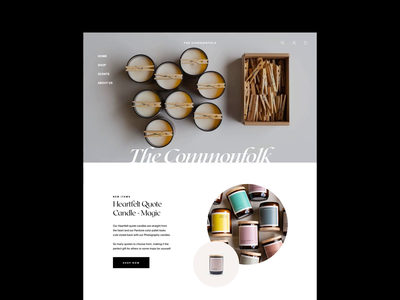 The Commonfolk Collection Homepage interior commonfolk homepage design header webdesign minimalist website candle candles ecommerce design ecommerce whitespace photography modern layout typography minimal