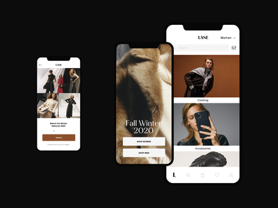 Lane Fashion Mobile App ecommerce shop ecommerce app mobile screen app design ecommerce minimalist editorial fashion photography modern layout typography minimal fashion design fashion brand fashion app