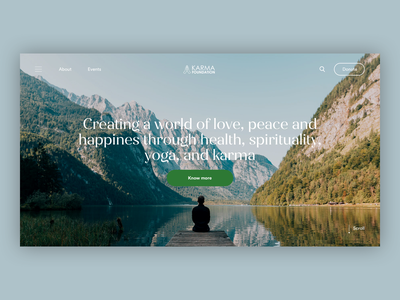 Karma Foundation Header spirituality meditation yoga foundation editorial design minimalist fashion whitespace photography modern layout typography minimal
