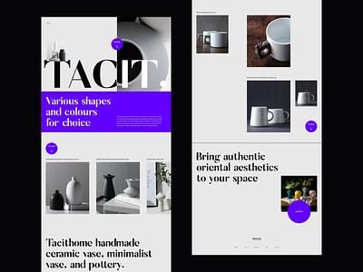 TACIT Ceramics web design branding mugs ceramic webdesign editorial website minimalist whitespace photography modern layout typography minimal ceramics tacit