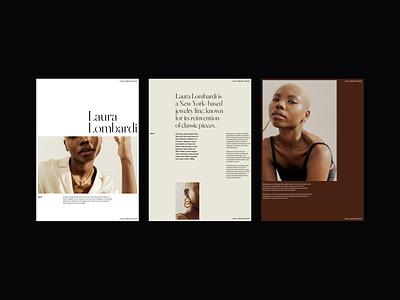 Laura Lombardi Jewelry Editorial jewelry editorial editorial design web design website minimalist whitespace photography modern typography minimal layout exploration layout design layout