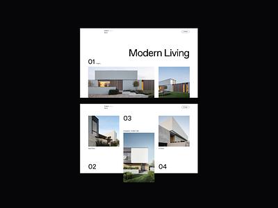 Modern Living ui grid archi housing living architecture website web design minimalist whitespace photography layout modern typography minimal