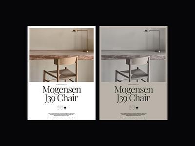 Mogensen J39 Chair Exploration interior architecture chair poster posterdesign design minimalist whitespace photography modern layout typography web design minimal