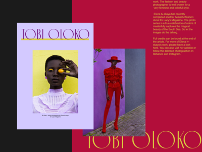 Tobi Oloko fashion lookbook