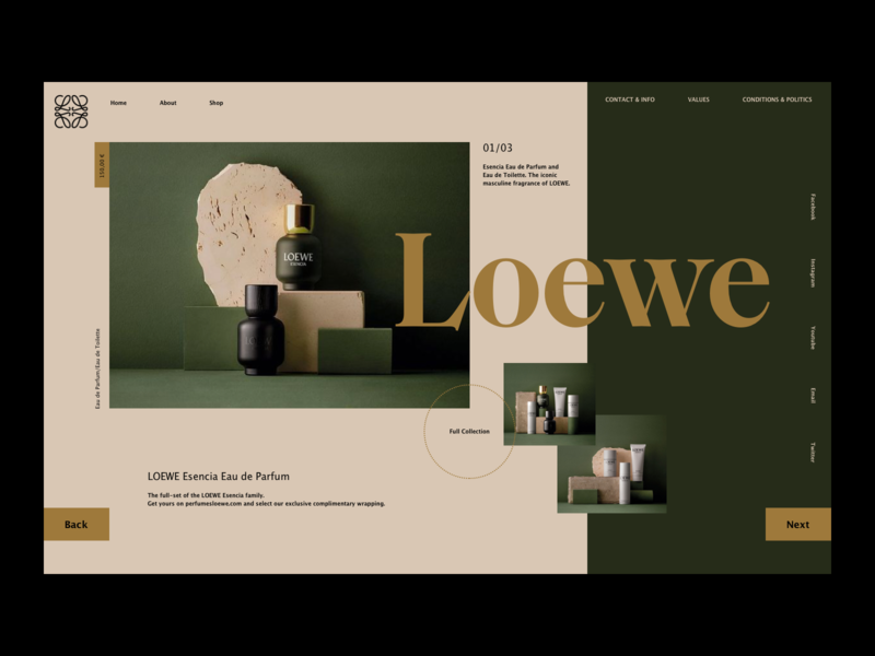 Loewe Header  Slider Concept editorial editorial design web design website photography fashion ecommerce design ecommerce layout whitespace typography minimal