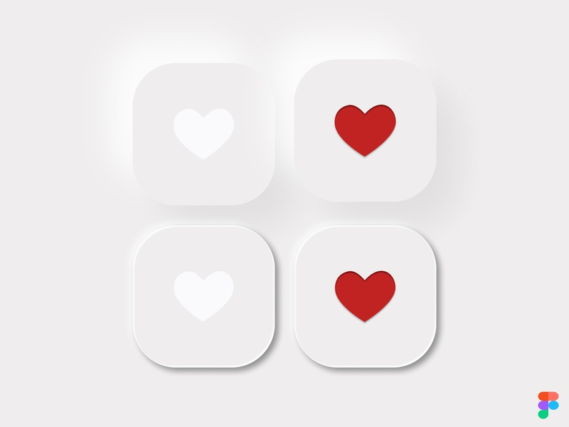 Neumorphic style buttons button states button design buttons button heart likes like button like neumorphism neumorphic ui design illustration figma design