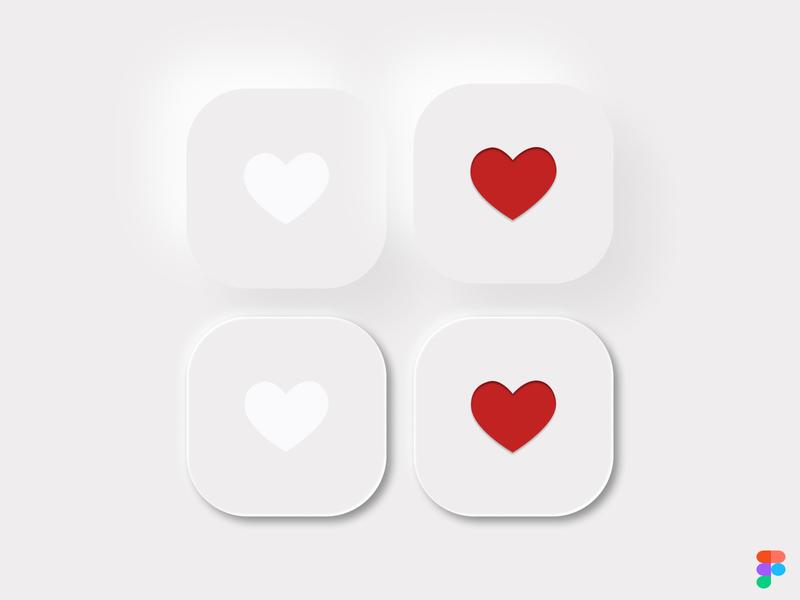 Neumorphic style buttons button states button design buttons button heart likes like button like neumorphism neumorphic ui design illustration figma design