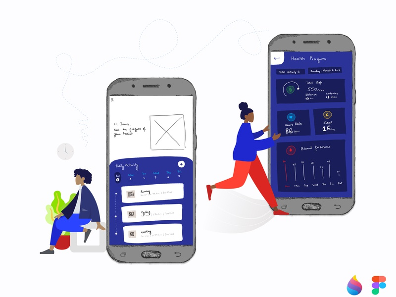Low fidelity hand-drawn sketches of health application blue mobile app mobile ui uidesign sketches lowfi paint3d paint vector ux ui ui design clean illustration figma design