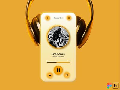 Neumorphic Music Application mobile app design mobile design mobile app mobile ui ui design ui ux design photoshop illustration figma design music app smartphone orange neumorphism neumorphic