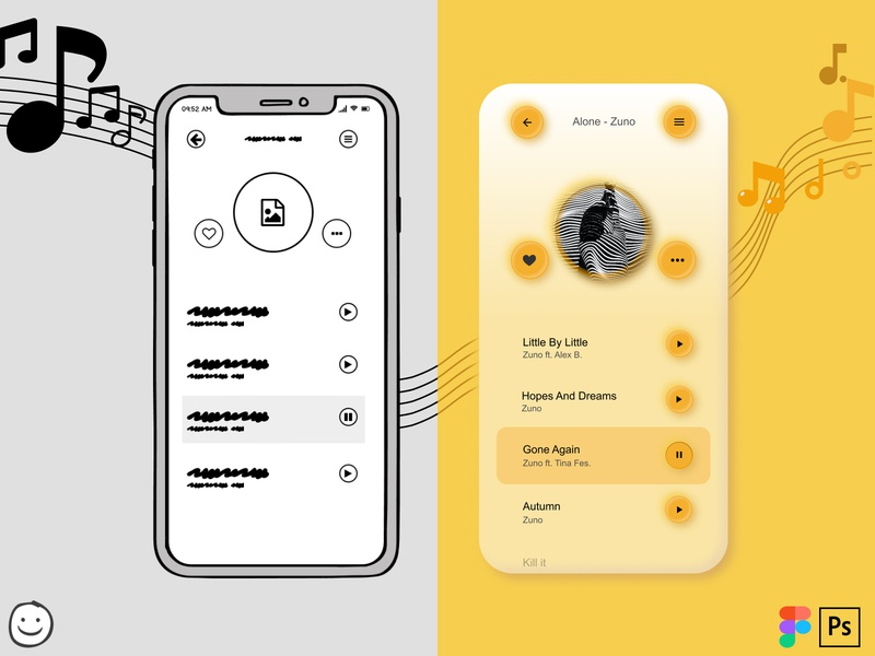 From low fidelity sketch to neumorphic high fidelity Music App high-fidelity hi-fi low-fidelity low-fi mobile application mobile app design mobile design mobile mobile ui psd design psd mockup balsamiq photoshop ui ui design clean illustrator figma design