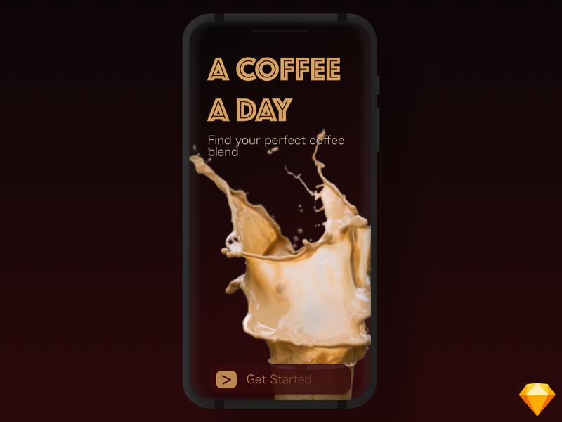 Coffee app starter screen uidesign ui  ux uiux screen starter mockup mobile app design mobile design mobile app mobile ui mobile ux design ux ui ui design clean sketchapp sketch design
