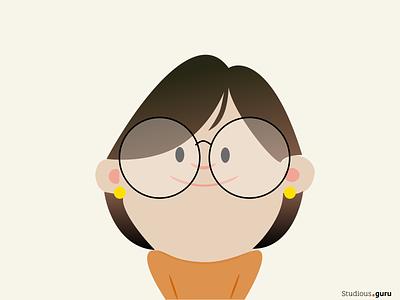 Studious girl figma illustrator avatardesign avatar girl character girl illustration girl webdesign vector design