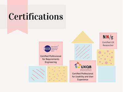 Certifications page - UX Portfolio concept building blocks blocks pink illustration clean vector figma design portfolio certification