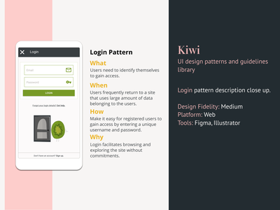 Kiwi - UI design patterns and guidelines library portfolio flat web design ui design ux design illustration clean vector figma design pattern