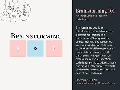 Brainstorming 101 portfolio design ux design illustration course workshop brainstorming