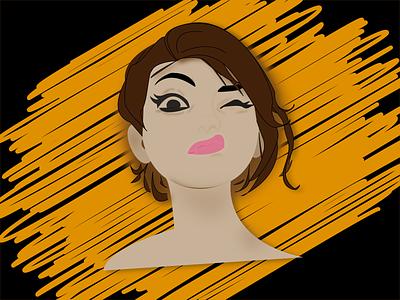 Girl next door wink girl avatardesign avatar icons avatars avatar illustrator illustration vector design