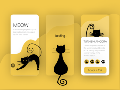 Meow - Yellow Cat App application animal mobile app design mobile ui mobile app black cat yellow app design app ux ui ux design ui design illustrator clean illustration figma vector design