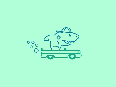Landshark monoweight teeth hat logo clean design illustration wash car wash cruise teal mint green blue mint fresh clean bubbles drive car shark