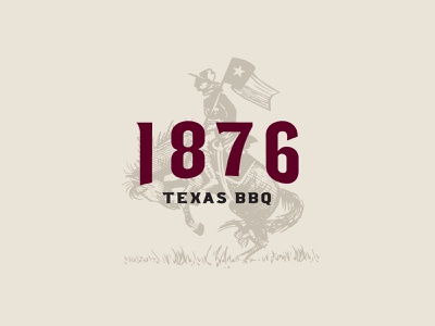 1876 Texas BBQ illustration logo riding flag sword stamped vintage rustic drawing patriot soldier cavalry bronco horse engraving barbeque 1876