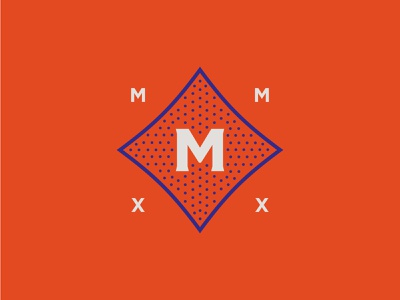 The Martingale martingale the graphic lettermark mmxx 2020 blue orange living apartment logo secondary mark secondary icon stipple retro vintage austin