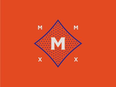The Martingale martingale the graphic lettermark mmxx 2020 blue orange living apartment logo secondary mark secondary icon stipple retro vintage austin
