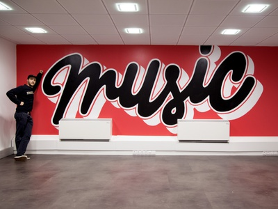 Music - MWM calligraphy design graphic music wall graffiti mural lettering