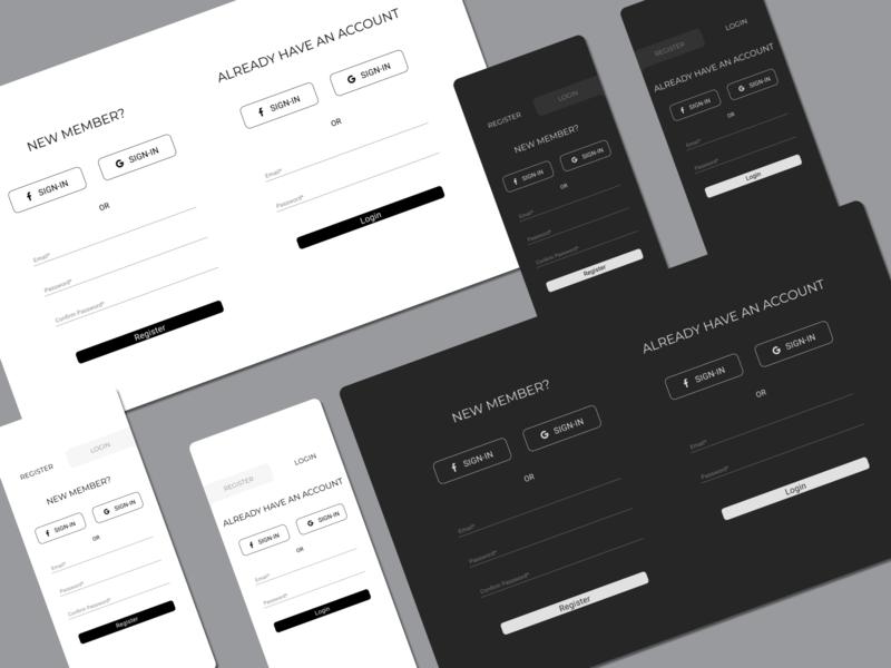 Sign-up SIgn-in Forms blackandwhite flat signin signup form design ux ui web mobile