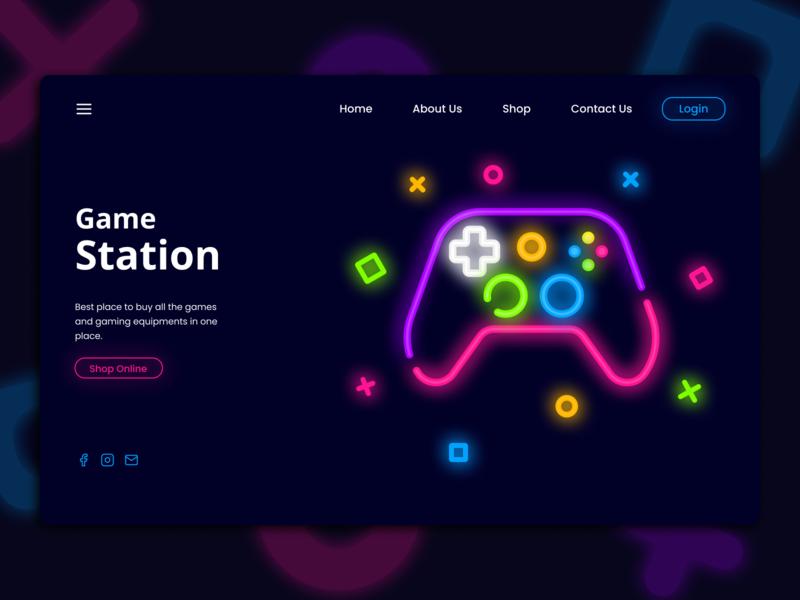 Game Station Website Concept Banner ui design uiux ux ui banner design banners neon lights neon web webdesign website