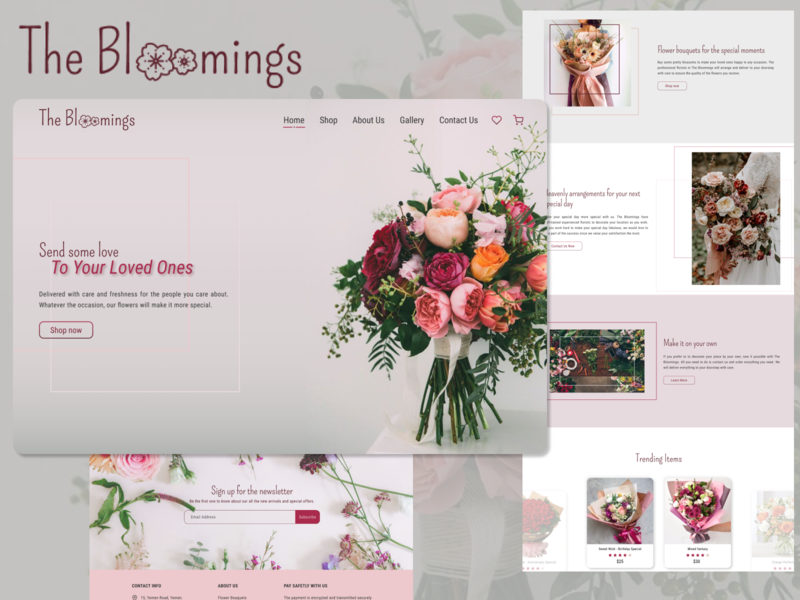 The Bloomings - Landing Page For A Florist florist landing page design landingpage landing figma photoshop web ux ui