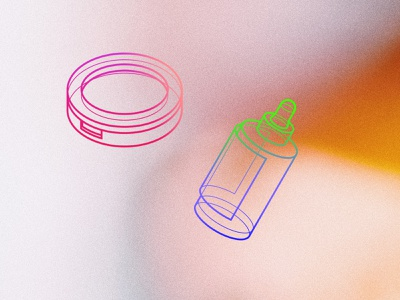 Rainbow cosmetics eyeshadow bottle pipette rainbow illustration