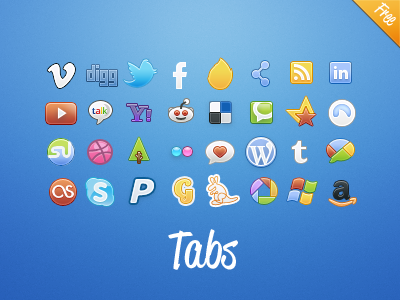 Tabs Social: Colors (and Classic) - Now free! tabs icons color tabsicons solid dribbble forrrst amazon stumbleupn grooveshark delicious reddit yahoo youtube linkedin feed network ember facebook twitter digg vimeo gowalla sticker orange browser media social rainbow colors