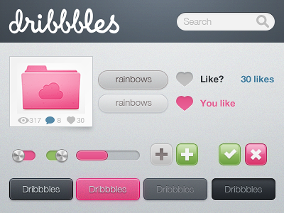 Dribbbles, just for fun of it rainbows tabs fun dribbble pink green interface psd free download switch metal blue grey button like heart dribbbles