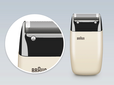 Braun Electric Shaver S60 by Dieter Rams, 1958 [PSD] shaver braun icon illustration reflection black light crisp free download psd dieter rams