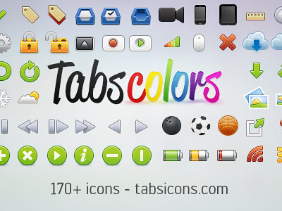 Tabs Colors tabs colors rainbow retro pixels final magic grey gamer bowlingball mouse lock inbox camera iphone ipad ruler arrow photo battery feed cloud lickable icons icon contrast bright color tabbar red green blue orange pink purple brown black white