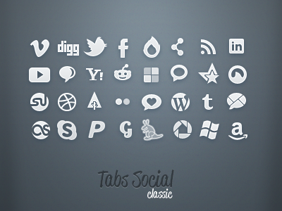 Tabs Classic: Social tabs icons social media browser blue sticker gowalla classic vimeo digg twitter facebook ember network feed linkedin youtube yahoo reddit delicious grooveshark stumbleupn amazon forrrst dribbble grey white