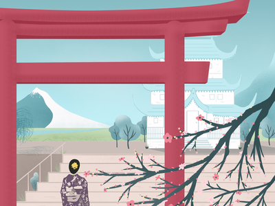 woman in kimona on steps of palace REFACTORED SMALL japanese art digital illustration digital art illustration editorial illustration