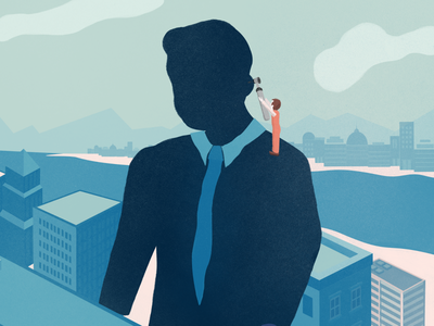 Assess The Client cityscape silhouette editorial illustration