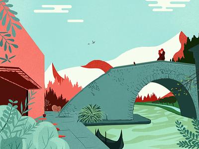 Lovers On Bridge photoshop digital editorial illustration illustration