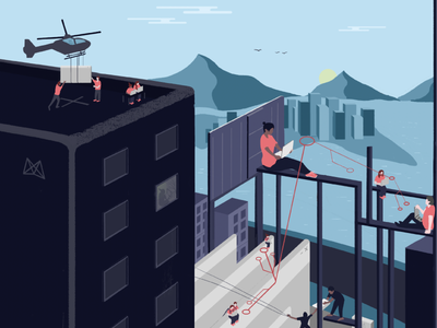 MDS—High Rise Workers mavenlink photoshop digital editorial illustration illustration