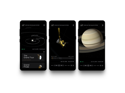NASA app experience visual design ux ui database 3d space nasa dark ui mobile