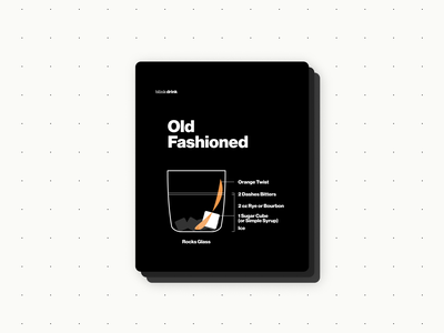 Old Fashioned typography bartender ux branding illustration vector design visual design