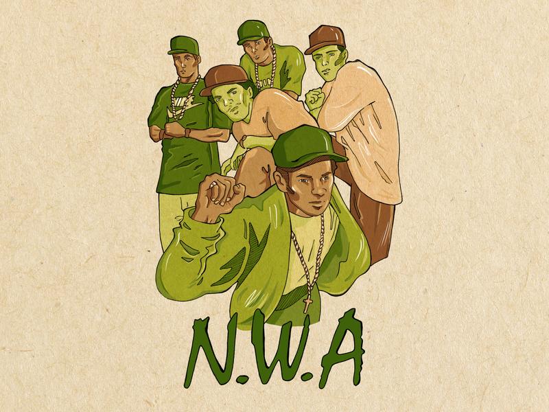 nwa portrait nwa rap music illustraion drawing game photoshop digitalart