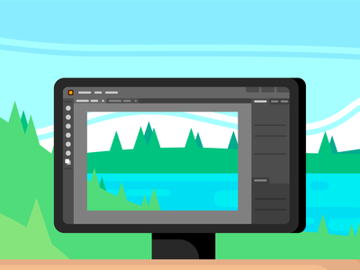 Snapshot of Nature landscape computer screen nature illustration computer trees nature graphic design illustration design