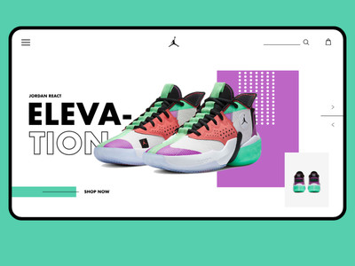 Jordan React Elevation Concept page e-commerce nike nike shoes shoe landingpage shoe design graphicdesign webdesigner branding ui web minimal landingpagedesign landingpage webdesig