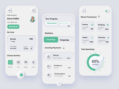 banking mobile app @money @fintech @spendings @ui @daily-ui @transactions @clean @finance @banking @application @user experience @uiux design @style @interface @product @business @apps @design @neumorphic