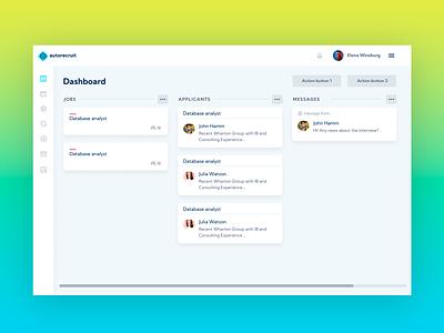 Autorecruit Dashboard website job application clean webapp design panel dashboard